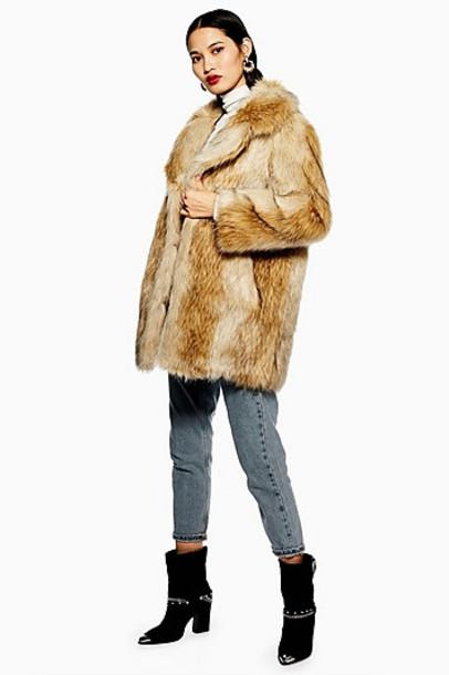 TopShop Faux Fur Coat - Brown