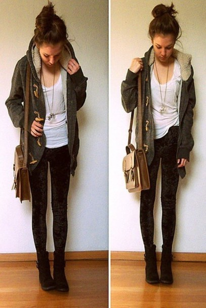 Jacket Fur Lined Jacket Army Green Coat Winter Boots