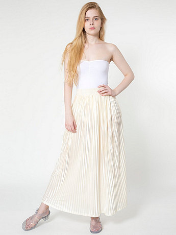 Long Accordion-Pleat Skirt | American Apparel