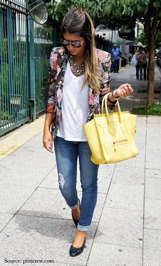 jacket shoes jeans yellow bag summer outfits outfit t-shirt band t-shirt blazer sunglasses floral top necklace jewels