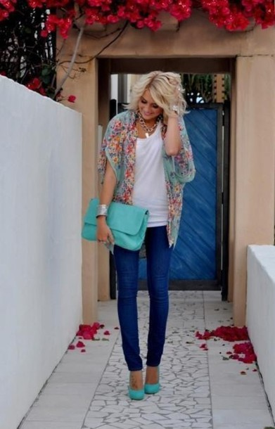 flowered top blouse clothes shoes bag sweater tiffany blue blue floral blonde hair turquoise light blue jacket bag cardigan colorful scarf mint floral kimono