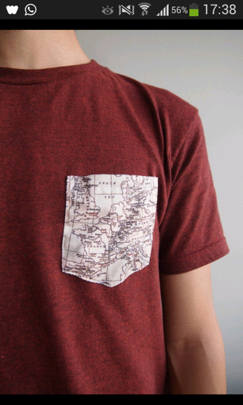 t-shirt bordeaux red world map