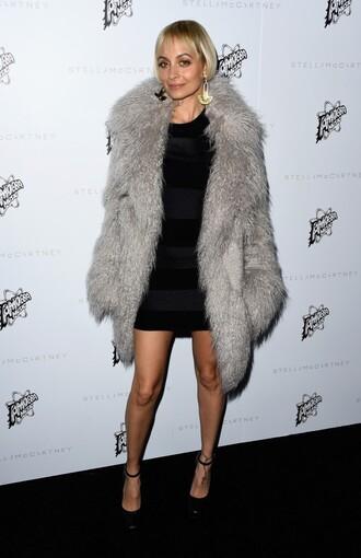 coat fur fur coat nicole richie pumps mini dress black dress grey coat