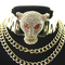 Brand gold plated show multiple chain pu leather adjustable collar luxury chunky full crystal rhinestone leopard head necklace-in chain necklaces from jewelry & accessories on aliexpress.com   alibaba group
