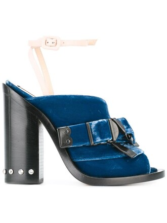 women sandals leather blue velvet shoes