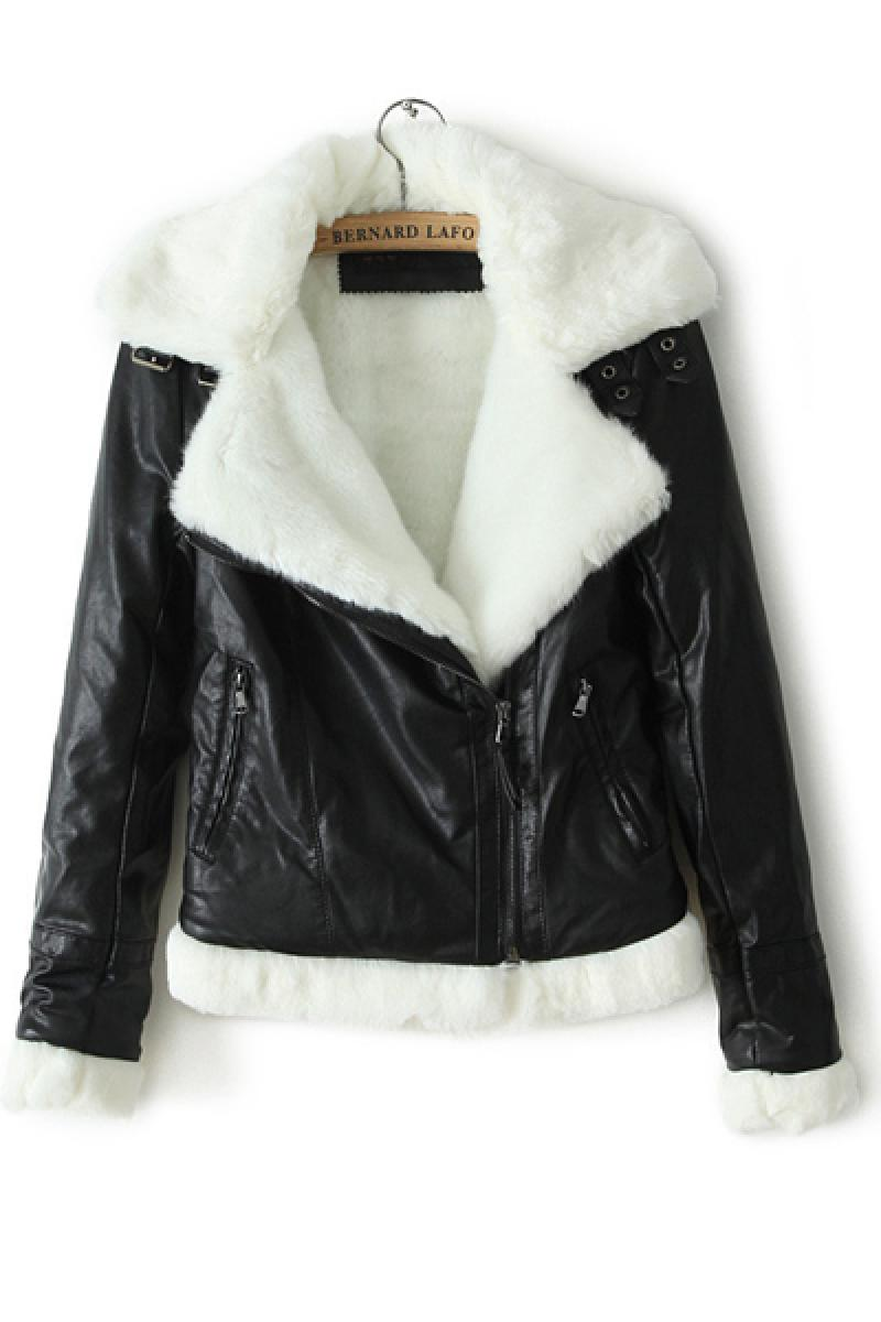 2013 Autumn & Winter New Section Rex Rabbit Fur Collar PU Biker Jacket,Cheap in Wendybox.com