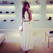 white dress,white,long dress,boho wedding dress,three-quarter sleeves,belted dress,boho dress,crochet dress,spring dress,fall dress,dress,long,shoeshop,lace,long sleeves,belt