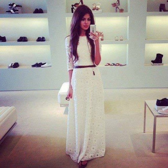 dress waist belt lace dress pretty long dress shoes long hair iphone clothes prom dress chiffon white, lace, longsleeved,