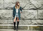 the marcy stop,blogger,coat,denim shorts,knee high socks,boyish,spring outfits