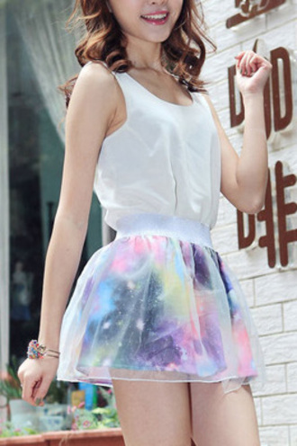 dress white galaxy print skirt