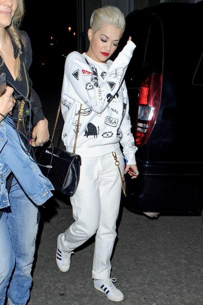 sweater jumper sweatshirt rita ora white pants sneakers celebrities in white