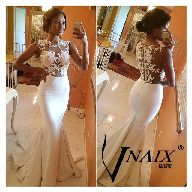 Vnaix WV018 See Through Lace Crystal Beaded Top Sexy Crystal Beaded Lace Applique White Mermaid Wedding Dresses 2014-in Wedding Dresses from Apparel & Accessories on Aliexpress.com | Alibaba Group