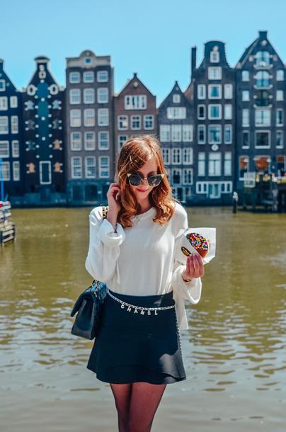 vogue haus blogger sweater skirt shoes bag belt mini skirt white top