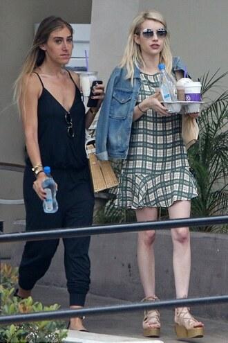 dress summer dress emma roberts wedges sandals sunglasses