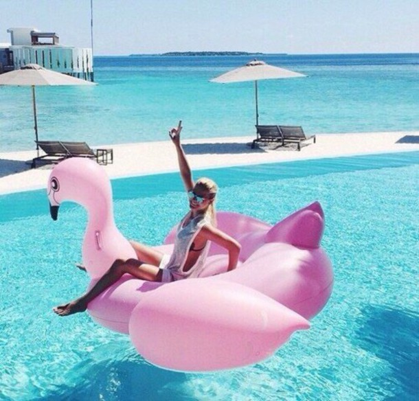 home accessory pink swimwear pibk flamingo pool accessory float swimwear pool pool party swimwear