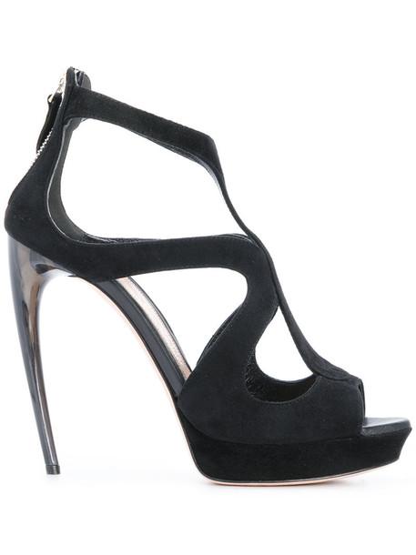 heel women sandals leather suede black shoes