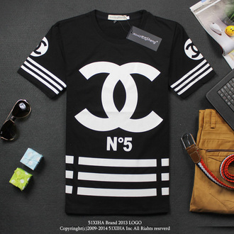 t-shirt no5 cc black white stripes blouse shirt chanel polo shirt cocochanelno5 channel shirt