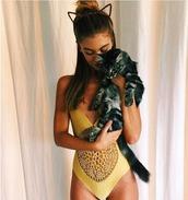 swimwear,one piece,gold,crochet,frankies bikini,halloween,cat ears