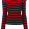 Msgm - frilled neck knitted blouse - women - acrylic/wool - s, red, acrylic/wool