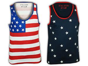 Mens Vest Soul Star Tank Top Sleeveless Stripe Print Stars USA Flag American   eBay