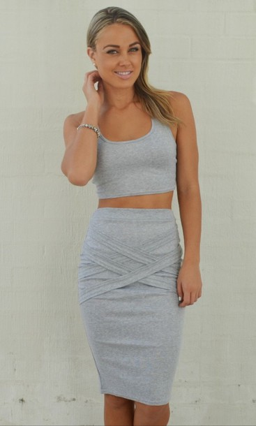 White Skirt And Crop Top Set Lace Matching