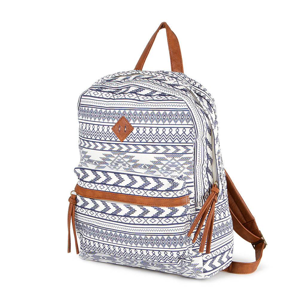 Blue And White Aztec Print Backpack Claire S