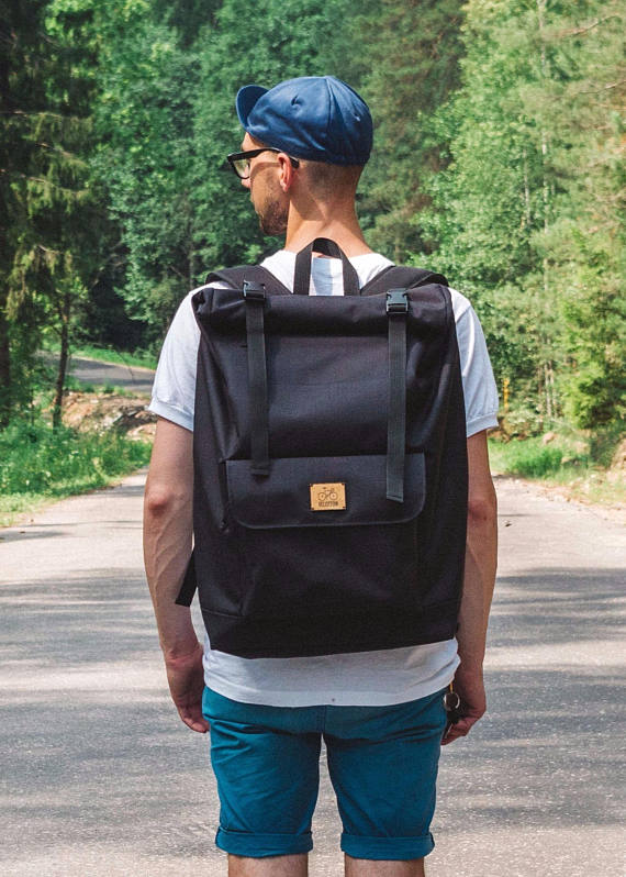 ad65db3fe4 Black Roll Top Backpack