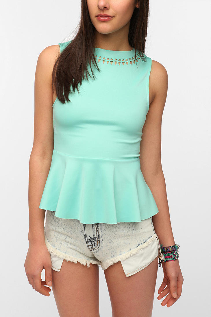 cburroughs's save of Sparkle & Fade Neoprene Laser-Cut Peplum Top on Wanelo