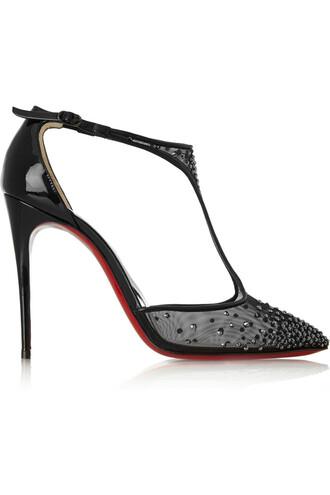 mesh embellished 100 pumps leather black shoes