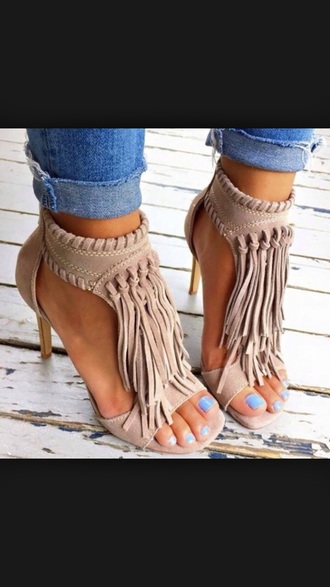 shoes camel sandals fringes nude festival heels
