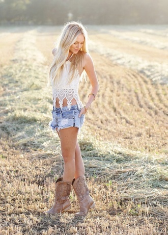 tank top clothes country style shorts shoes blouse crochet crop top white halter top cowgirl boots cut off shorts blue jean shorts shirt lace shirt summer outfits southern white lace lace