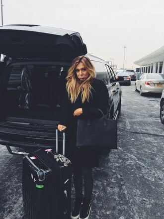 bag alexis ren black coat coat winter coat black bag model sneakers giuseppe zanotti high-top sneakers giuseppe zanotti jeans black dress suitcase
