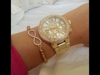 jewels gold watch diamond watch luxurious jewlery jewelry cute infinity braclet infinit symbol michael kors michael kors watch luxury