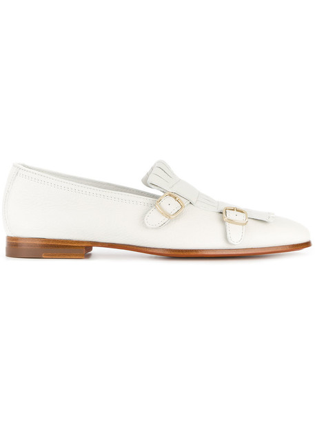 Santoni women loafers leather white shoes