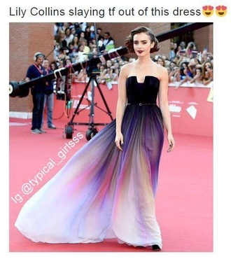 dress purple long formal strapless ombre red carpet lilly collins