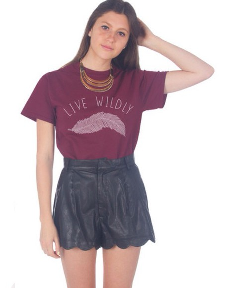 feathers winter/autumn t-shirt marron summer dress outfit style popular cotton