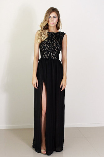 Ava black lace and silk formal dress with split