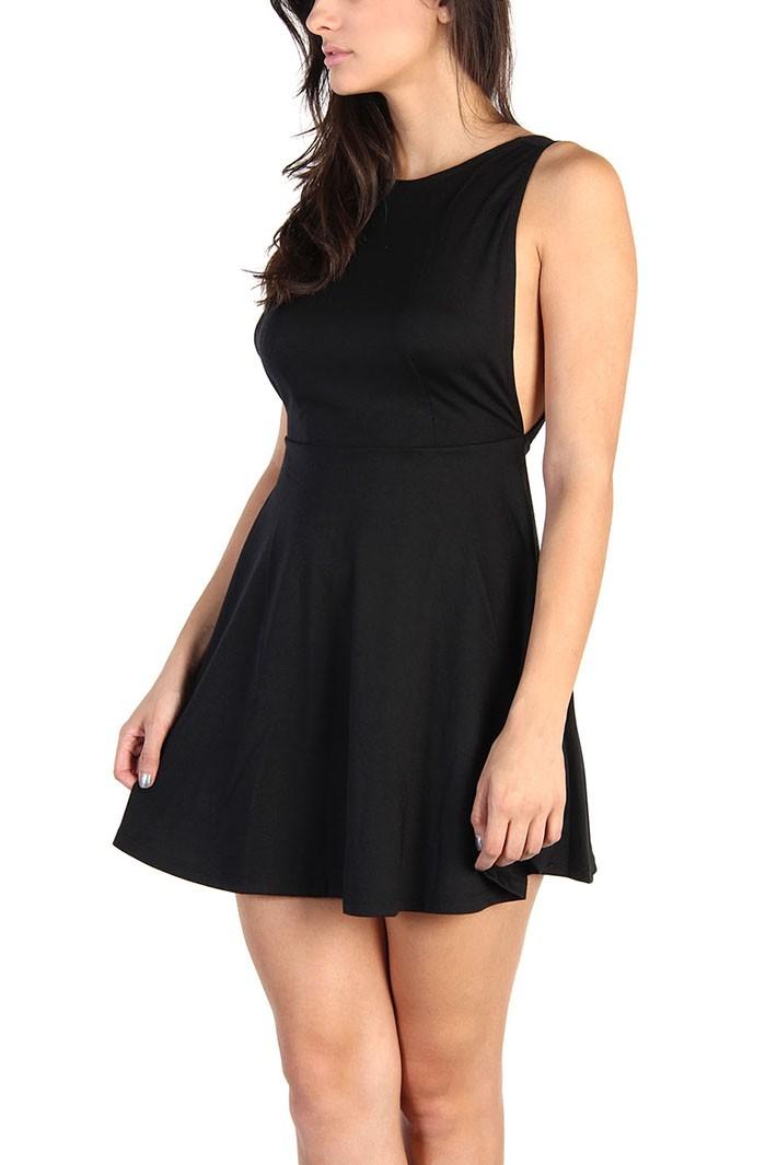 Ponte Sleeveless Skater Dress - Black