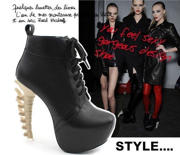 Fashion womens lace up special dinosaur bone looks spine heels ankle boots