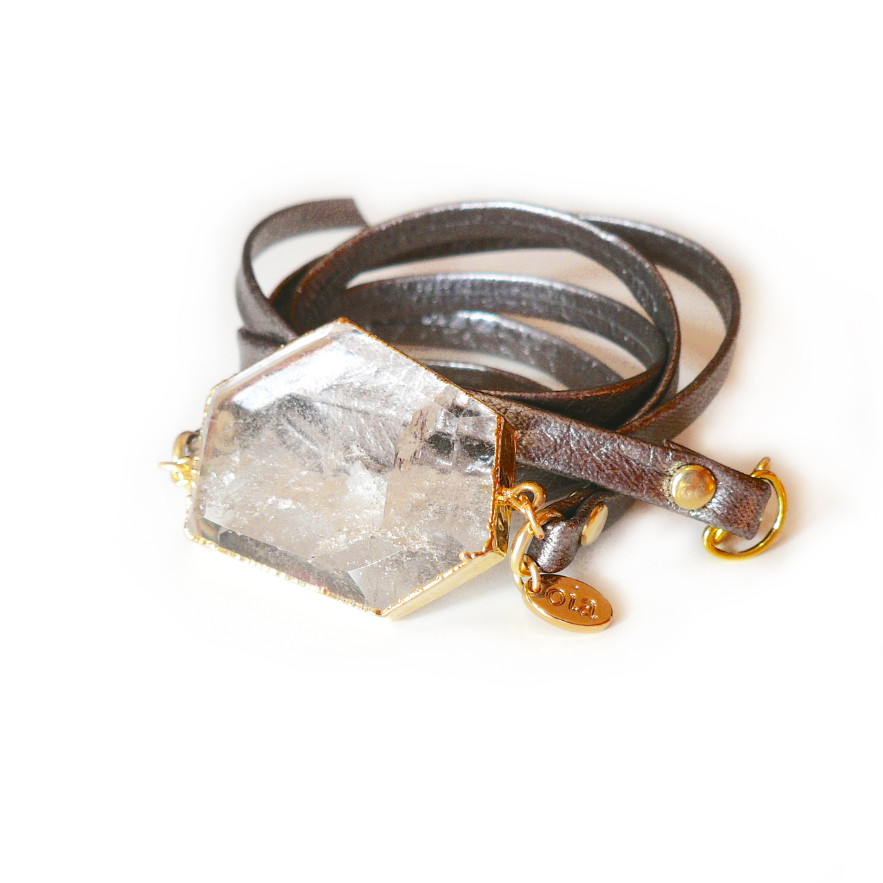 Luxe Crystal Leather Wrap - Gunmetal