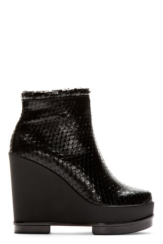 wedge women shoes boots black ankle snake print sarlah
