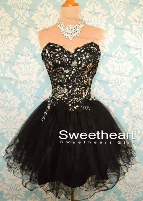 Sweetheart Girl   Black Ball Gowns Short Lace Prom Dresses, Lace Bridesmaid Dresses   Online Store Powered by Storenvy