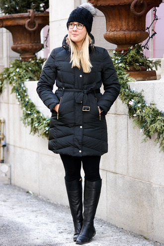 franish blogger coat pants sweater shoes jewels winter outfits beanie black coat boots knee high boots
