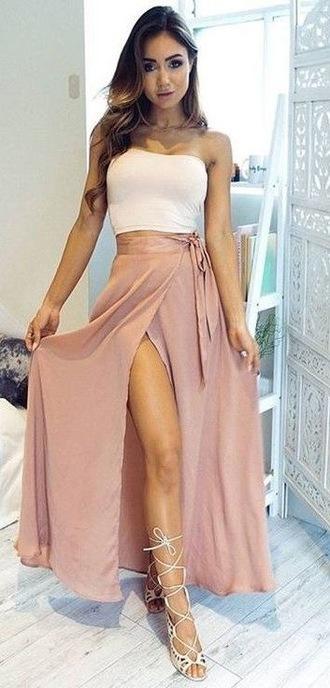 skirt long skirt pink maxi skirt wrap skirt slit skirt beige