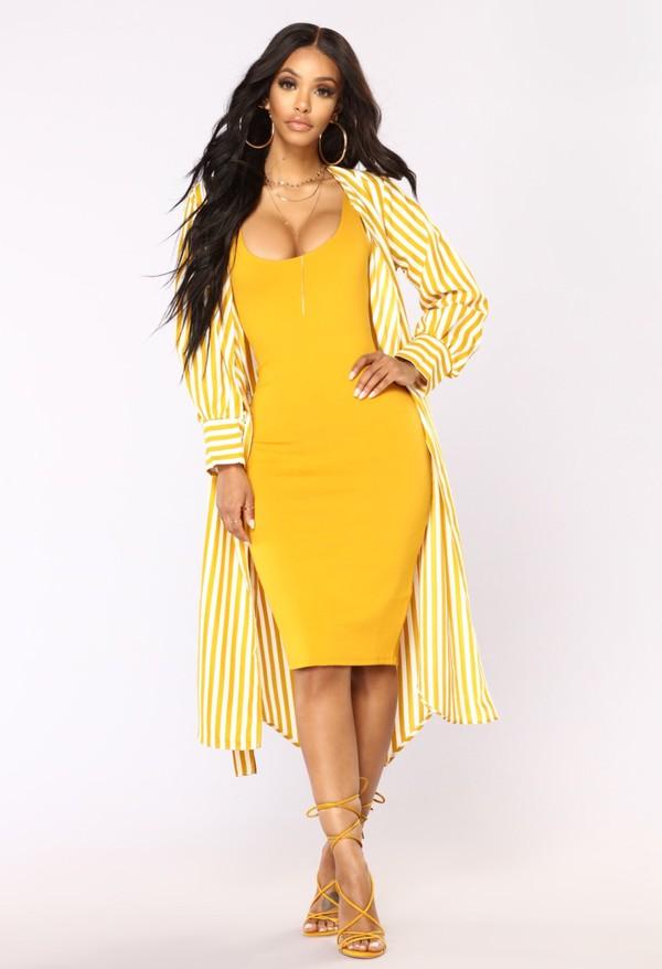 dress shirt dress stripes mustard long sleeve dress long sleeves