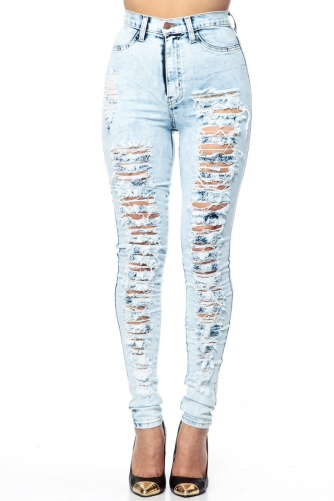 High Waist Ripped Acid Wash Skinny Jeans @ Cicihot Pants Online Store: sexy pants,sexy club wear,women's leather pants, hot pants,tight pants,sweat pants,black pants,baggy pants