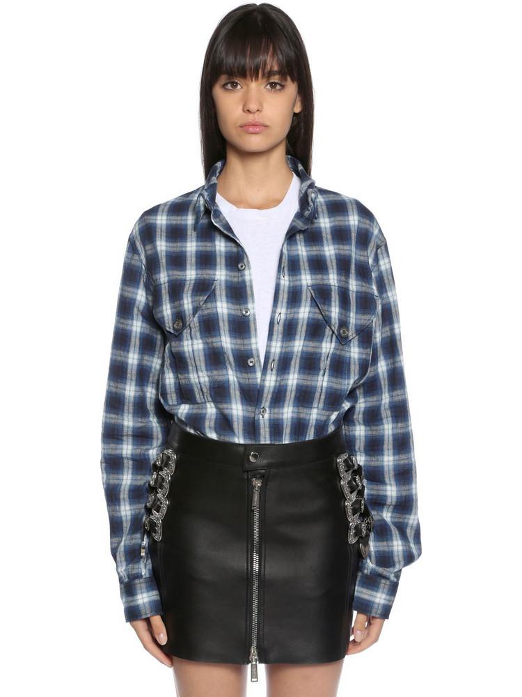 DSQUARED2 Cotton Blend Plaid Shirt in blue / grey