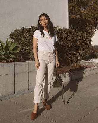 honey n silk blogger shirt jeans jacket shoes bag beige pants white t-shirt handbag