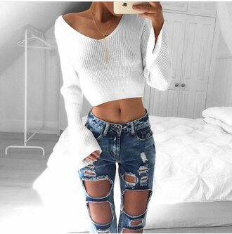 knitted sweater cropped sweater white sweater sweater bell sleeve sweater jeans ripped jeans boyfriend jeans