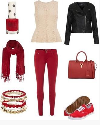blouse cute red pants black jacket red purse nail polish